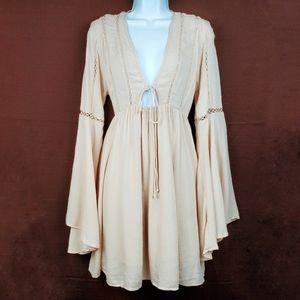FOREVER 21 Blush Nude Boho Bell Sleeve Dress S